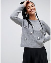Mango - Embellished Wool Blend Sweater In Gray - Lyst
