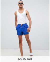 ASOS - Tall Swim Shorts In Electric Blue With Neon Orange Drawcord In Short Length - Lyst