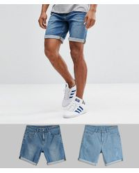 ASOS - Design 2 Pack Slim Denim Shorts With Abrasions In Light Wash Blue And Mid Wash Blue - Lyst