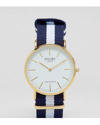 Reclaimed (vintage) - Inspired Navy Stripe Canvas Watch With White Dial Exclusive To Asos - Lyst