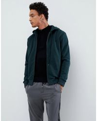Fred Perry - Hooded Zip Thru Sweat In Green - Lyst