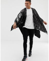ASOS - Sequin Cape In Black And Silver - Lyst