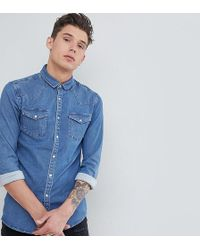 4bc36b46422 Lyst - Asos Skinny Denim Shirt With Tartan Check With Long Sleeve In ...