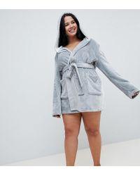 ASOS - Asos Design Curve Super Soft Fleece Mini Robe With Contrast Lining - Lyst