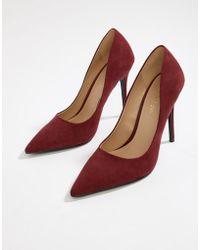 Miss Selfridge - Pointed Court Shoe In Burgundy - Lyst