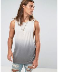 70f0a18df1a09c Lyst - Asos Super Longline Sleeveless T-shirt In Bamboo Fabric With ...
