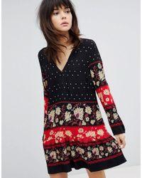 MINKPINK - Drop Waist Dress Smock Dress With Border Print - Lyst