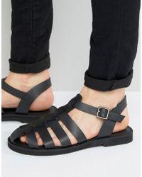KG by Kurt Geiger - Kg By Kurt Geiger Strap Sandals In Black Leather - Lyst