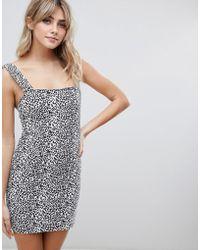 Liquor N Poker - Leopard Print Denim Mini Dress - Lyst