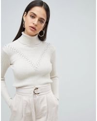 Fashion Union - High Neck Jumper In Textured Knit - Lyst