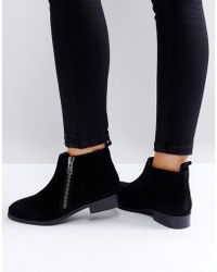 Miss Kg - Spitfire Suede Zip Flat Ankle Boots - Lyst