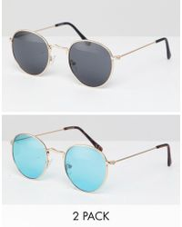 f1bcc6e4d13 ASOS - 2 Pack Round Sunglasses In Gold With Smoke   Turquoise Lens Save -  Lyst