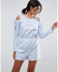 ASOS - Cold Shoulder Shirting Playsuit With Cut Out Back - Lyst