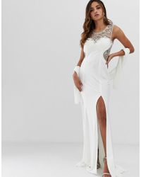 Jovani - Maxi Dress With Thigh Split And Embellished Detail - Lyst