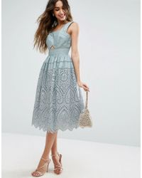ASOS - Broderie Prom Midi Dress - Lyst