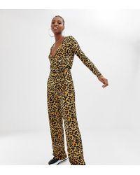 da7e423e9507 Collusion - Tall Wrap Front Jumpsuit In Leopard Print - Lyst