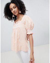 Lost Ink - Smock Top With Shirring In Stripe - Lyst