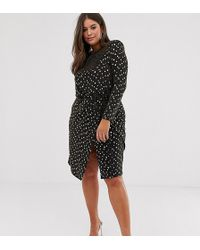 839f052383bd2 Flounce London - Wrap Front Mini Dress With Shoulder Pads In Black - Lyst
