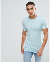 ASOS - Design Longline Muscle Fit T-shirt With Crew Neck In Blue - Lyst