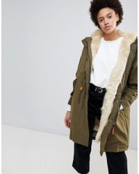 Parka London - Connie Military Parka Coat With Faux Fur Lining - Lyst
