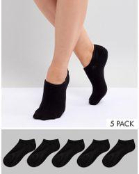 Monki - 5 Pack Sneaker Socks In Black - Lyst