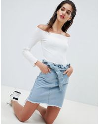Missguided - Tie Waist Denim Mini Skirt - Lyst