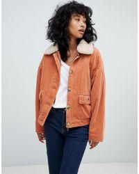 Pull&Bear - Corduroy Borg Collar Jacket In Rust - Lyst