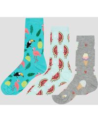New Look - 3 Pack Watermelon And Ice Cream Ankle Socks - Lyst