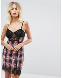 Naanaa - Bodycon Mini Dress In Check And Lace And Corset Detail - Lyst