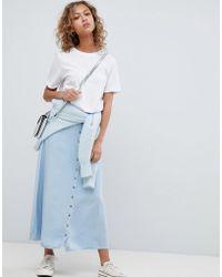 Pull&Bear - Button Detail Midi Denim Skirt In Blue - Lyst