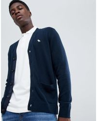 Abercrombie & Fitch - Icon Logo Knit Cardigan In Navy - Lyst