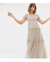 Needle & Thread - Embroidered Tulle Maxi Dress With Cap Sleeve In Rose - Lyst