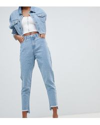 Liquor N Poker - Diamante Step Hem Mom Jeans - Lyst