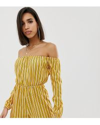 Missguided - Stripe Bardot Playsuit - Lyst