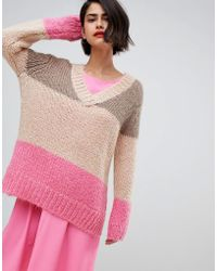 2nd Day - 2ndday Chunky V-neck Jumper In Colourblock - Lyst