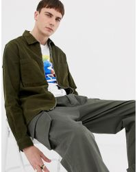 PS by Paul Smith - Cord Zip-thru Overshirt In Khaki - Lyst
