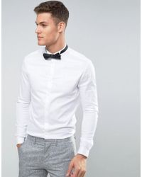 ASOS - Skinny Fit Sateen Shirt With Double Cuff And Wing Collar - Lyst