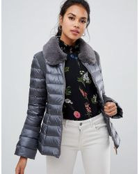 Ted Baker - Yelta Faux Fur Collar Down Jacket - Lyst