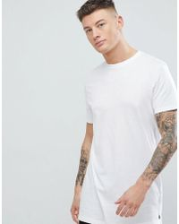 New Look - Longline T-shirt In White - Lyst