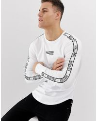 Hollister Chest & Sleeve Tape Logo Long Sleeve Top In White