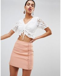 Fashion Union - Mini Skirt With Button Side - Lyst