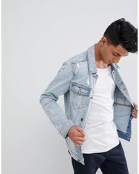 Hollister - Denim Trucker Distressed Jacket In Light Wash - Lyst