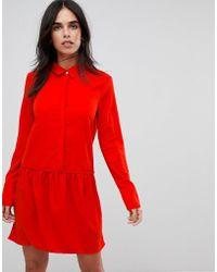 Vila - Drop Waist Shirt Dress - Lyst