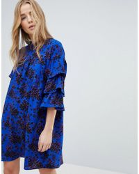 ONLY - Floral High Neck Dress With Ruffle Sleeves - Lyst