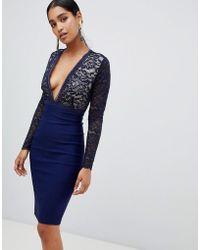 Vesper - Deep V Neck Lace Midi Pencil Dress - Lyst