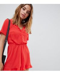 bcc891d94c5 Lyst - ASOS Button Through Beach Playsuit in Red
