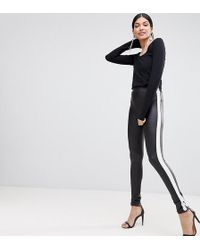 bb2e797914d51 ASOS Asos Design Petite leggings With Double Side Stripe in Black - Lyst