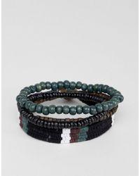 ASOS - Design Bracelet Pack In Brown And Khaki - Lyst
