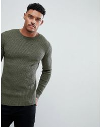 ASOS DESIGN - Muscle Fit Ribbed Jumper In Khaki Twist - Lyst