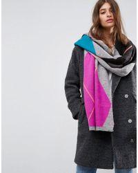 ASOS - Asos Argyle Knit Bright Scarf - Lyst